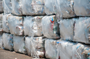 Picture of baled mimimally treated mixed R1 waste for export from Ireland.