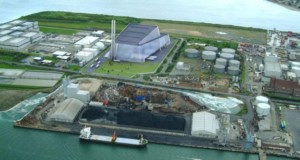 Image of Poolbeg incineration centre to be built in Dublin.